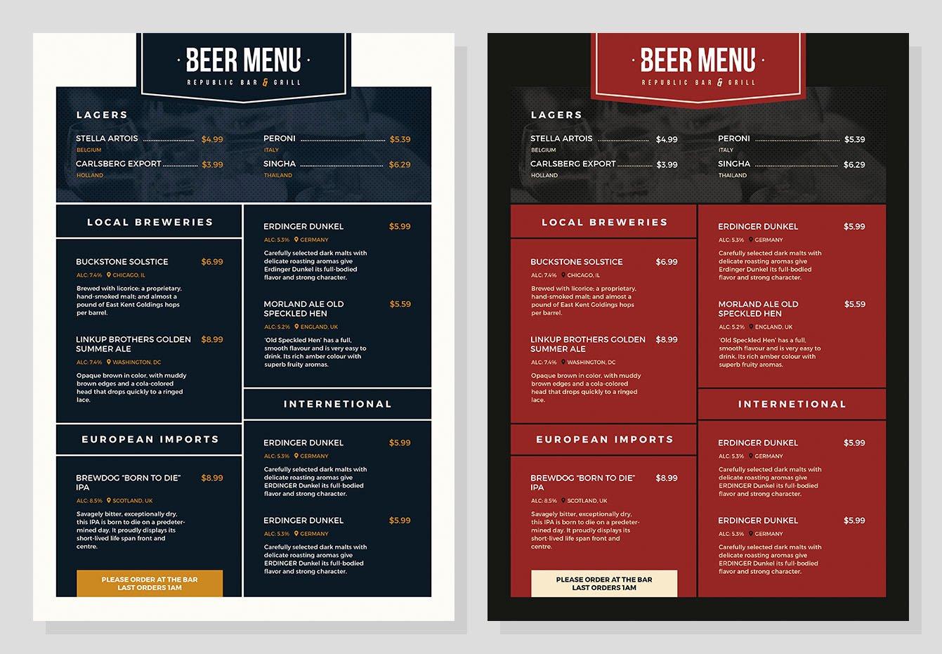 Free Beer Menu Template for Shop & Illustrator