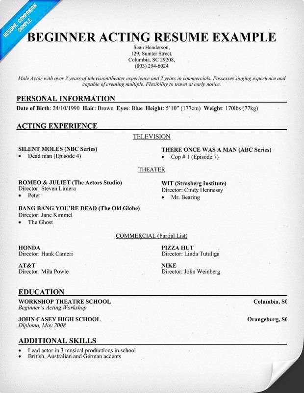 Free Beginner Acting Resume Sample Resume Panion