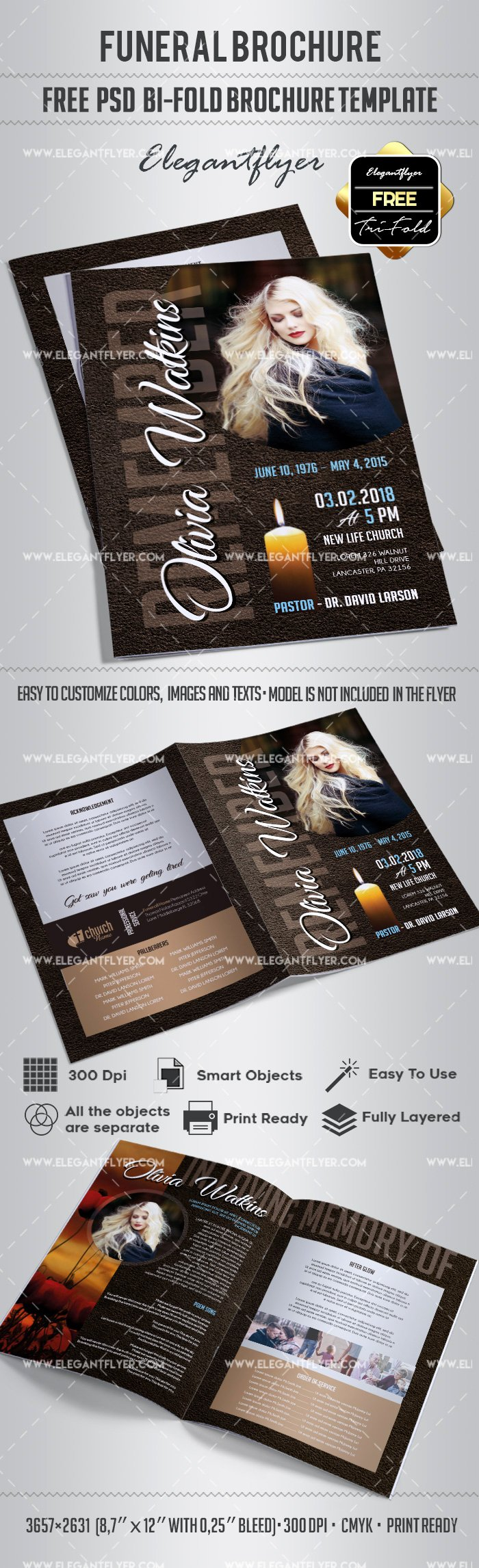Free Bi Fold Brochure for Funeral – by Elegantflyer