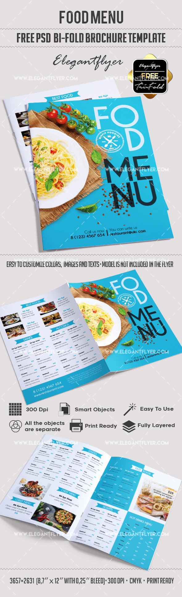 Free Bi Fold Cafe Menu Psd Brochure – by Elegantflyer