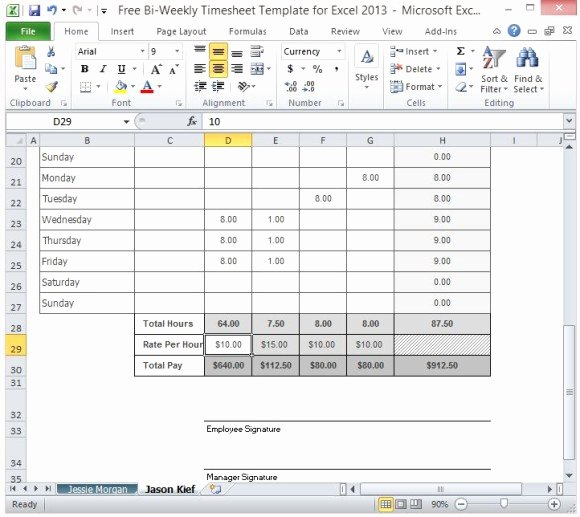 Free Bi Weekly Timesheet Template for Excel 2013