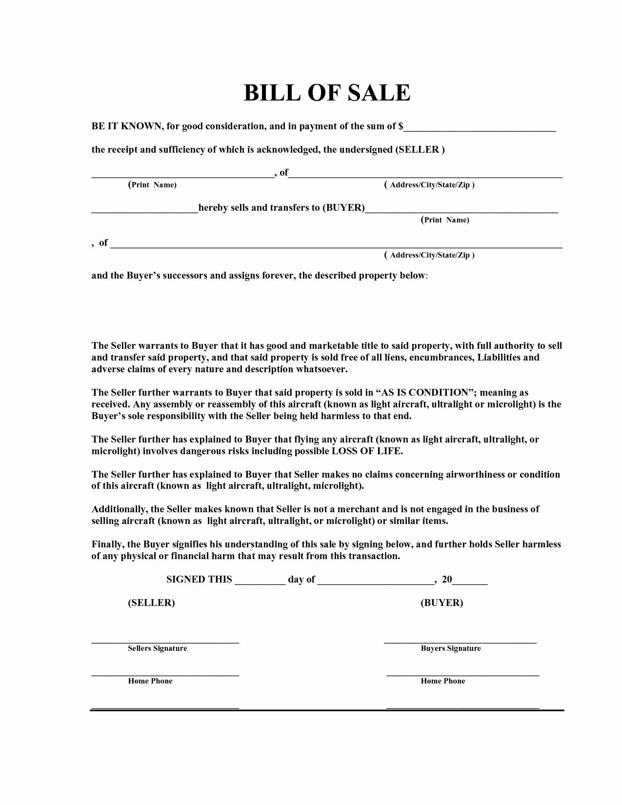 Free Bill Sale Template