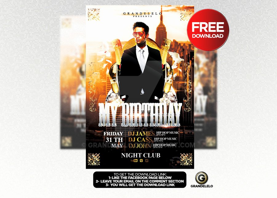 Free Birthday Bash Flyer Template Psd by Grandelelo On