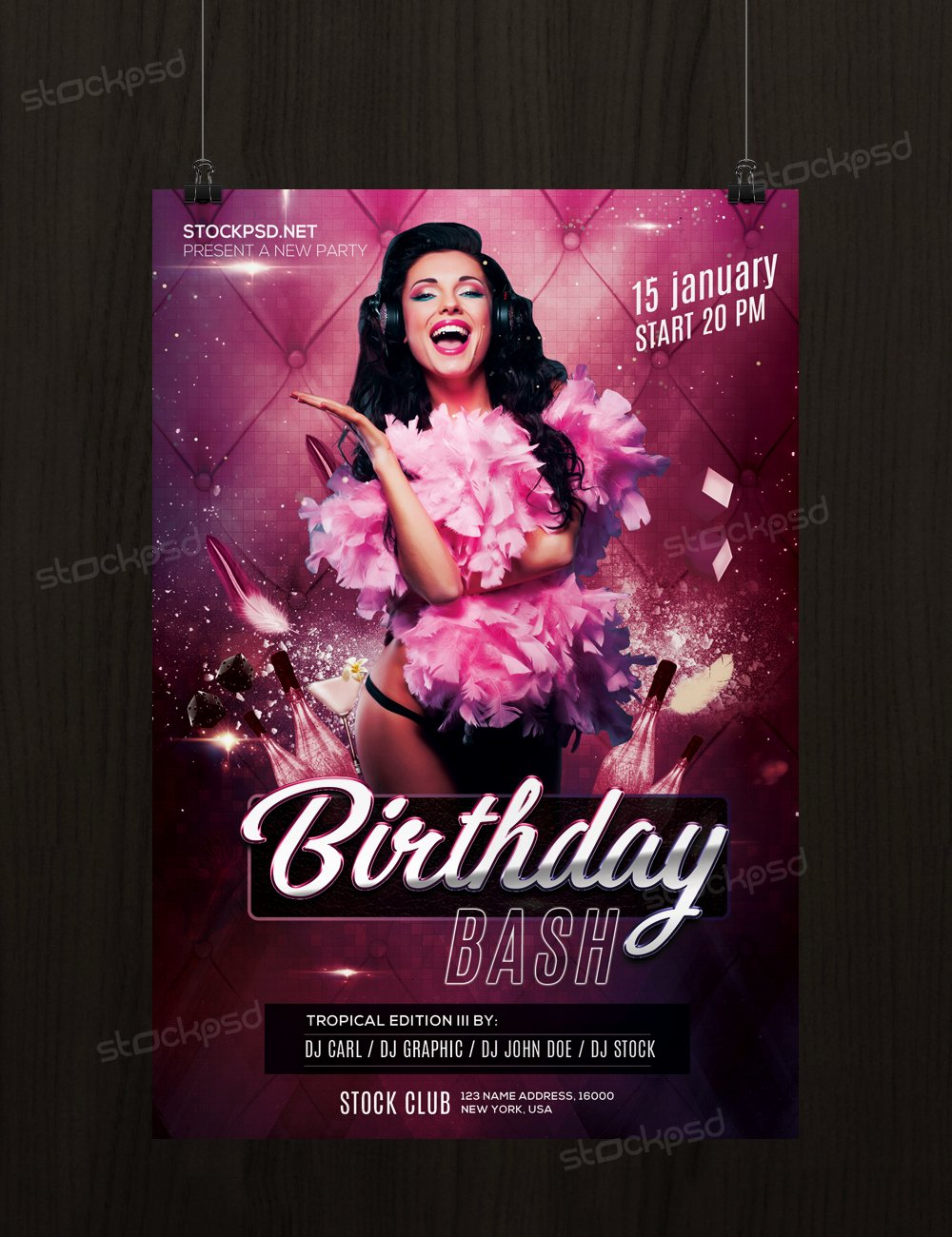 Free Birthday Bash Flyer Template Shop Flyershitter