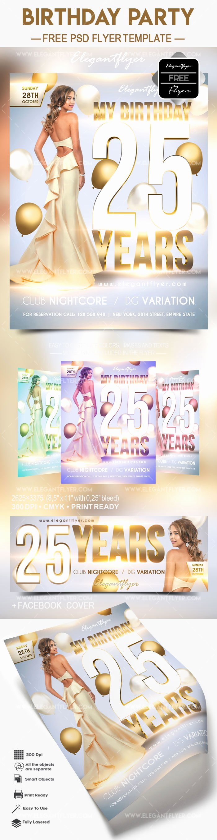 Free Birthday Party 2017 – Flyer Psd Template – by