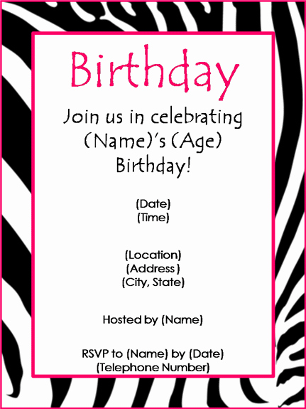 Free Birthday Party Invitation Templates for Word