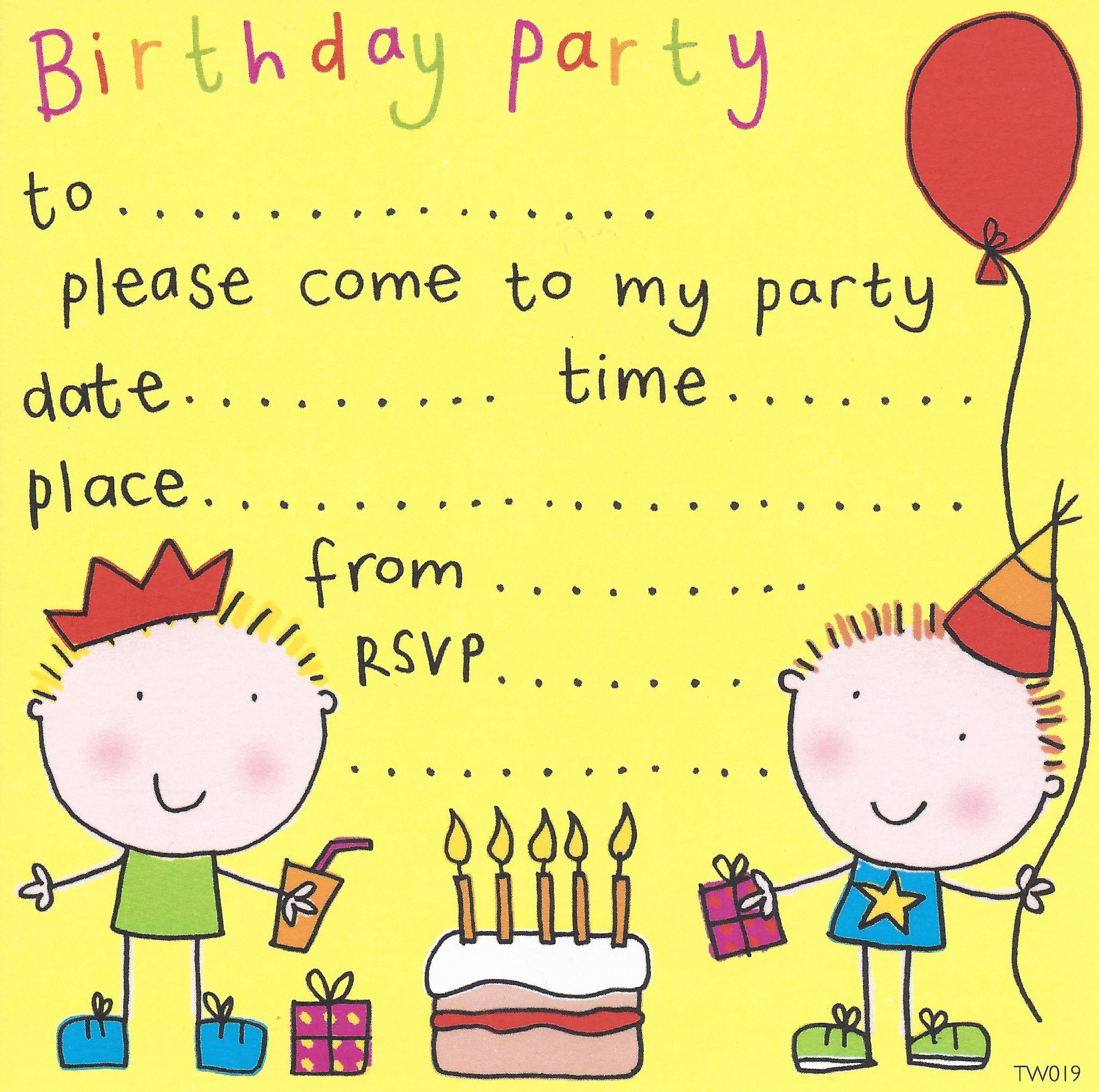 Free Birthday Party Invites for Kids – Free Printable