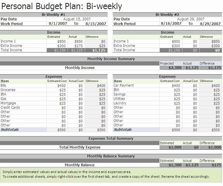 Free Biweekly Bud Excel Template