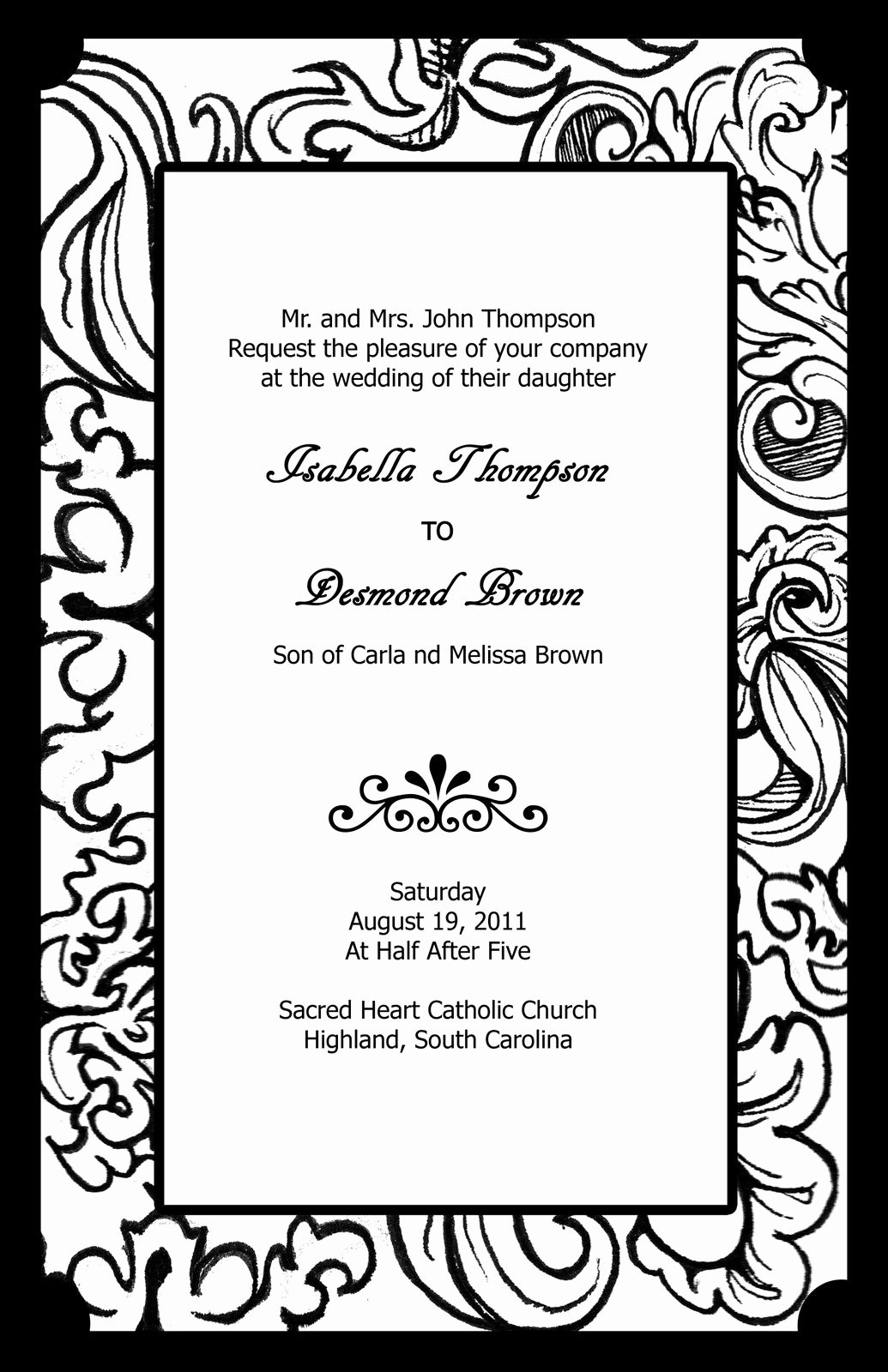 Free Black and White Wedding Invitation Templates