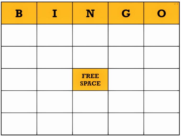 Free Blank Bingo Card Template Word