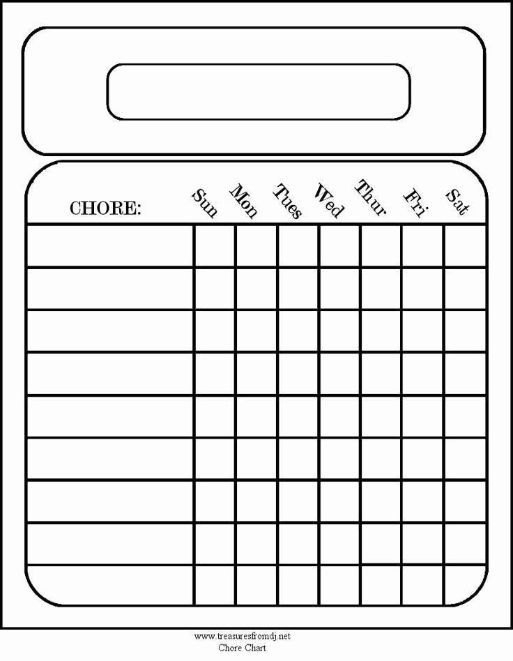 Free Blank Chore Charts Templates