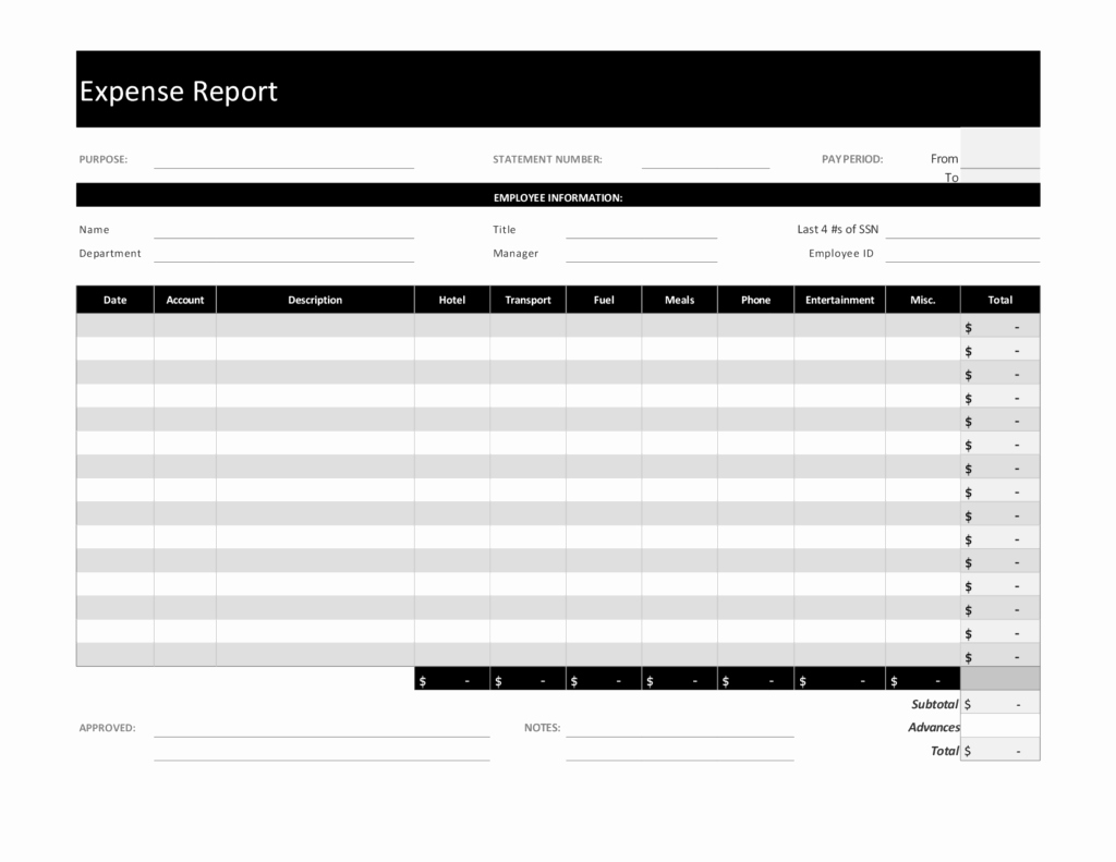 Free Blank Expense Report with Simple form V M D