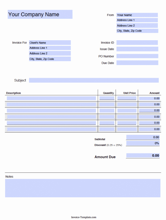 Free Blank Invoice Templates In Pdf Word & Excel