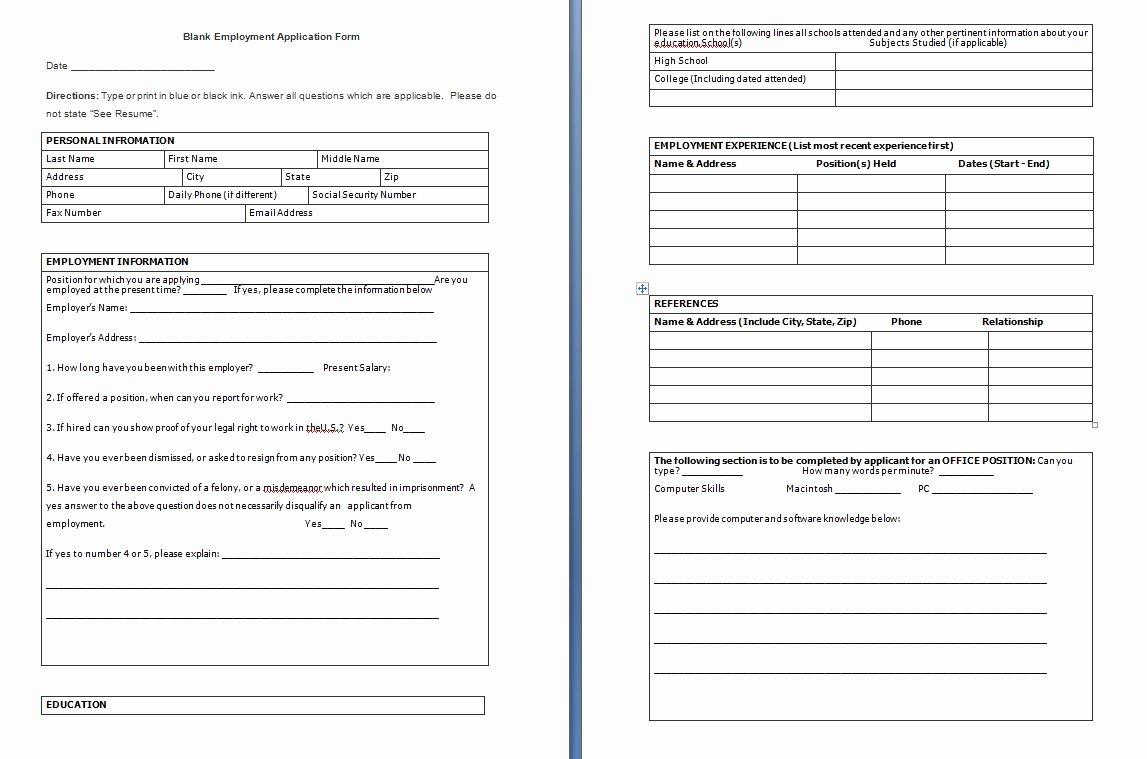 Free Blank Job Application form