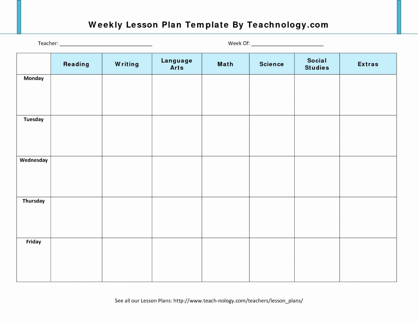 Free Blank Lesson Plan Templates Bussines Proposal