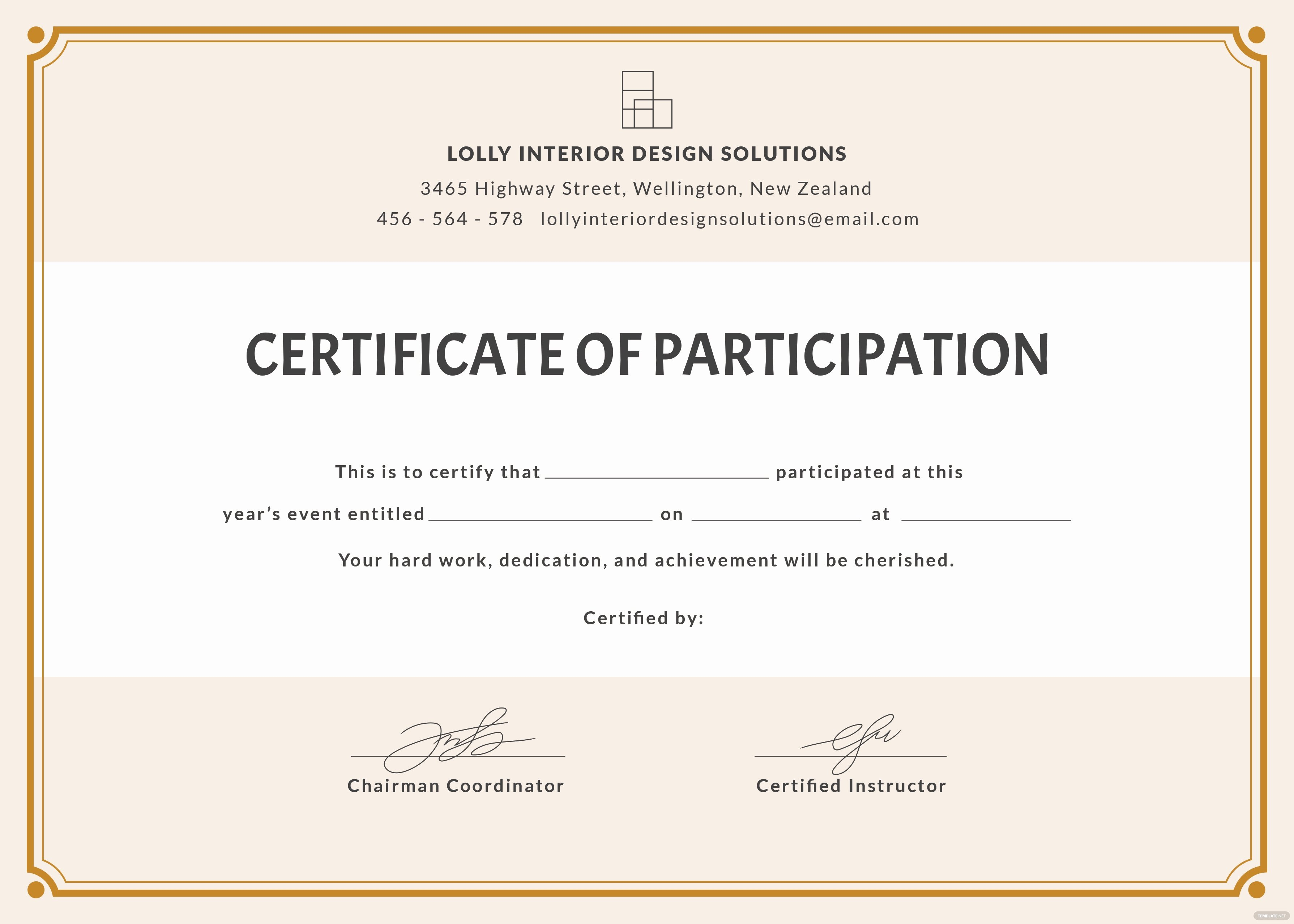 Free Blank Participation Certificate Template In Psd Ms