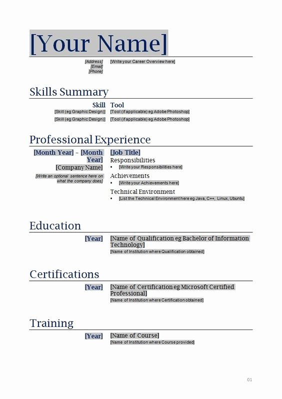 Free Blank Resume Templates