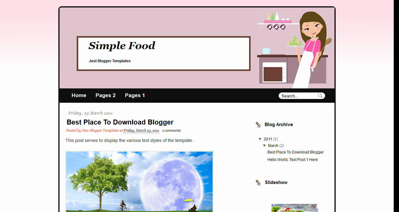 Free Blog Templates Simple Food Template