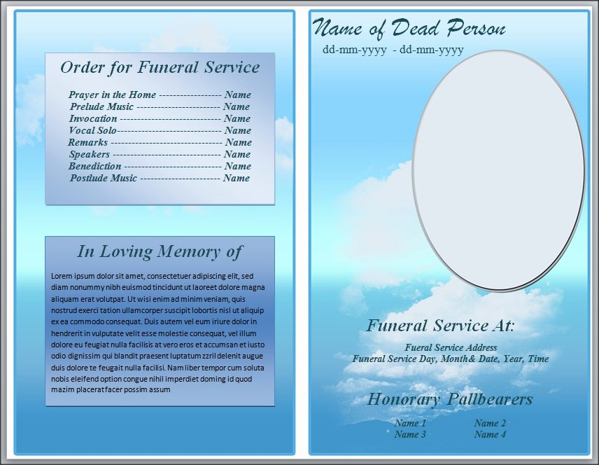 Free Blue Cloud Funeral Program Template for Word by