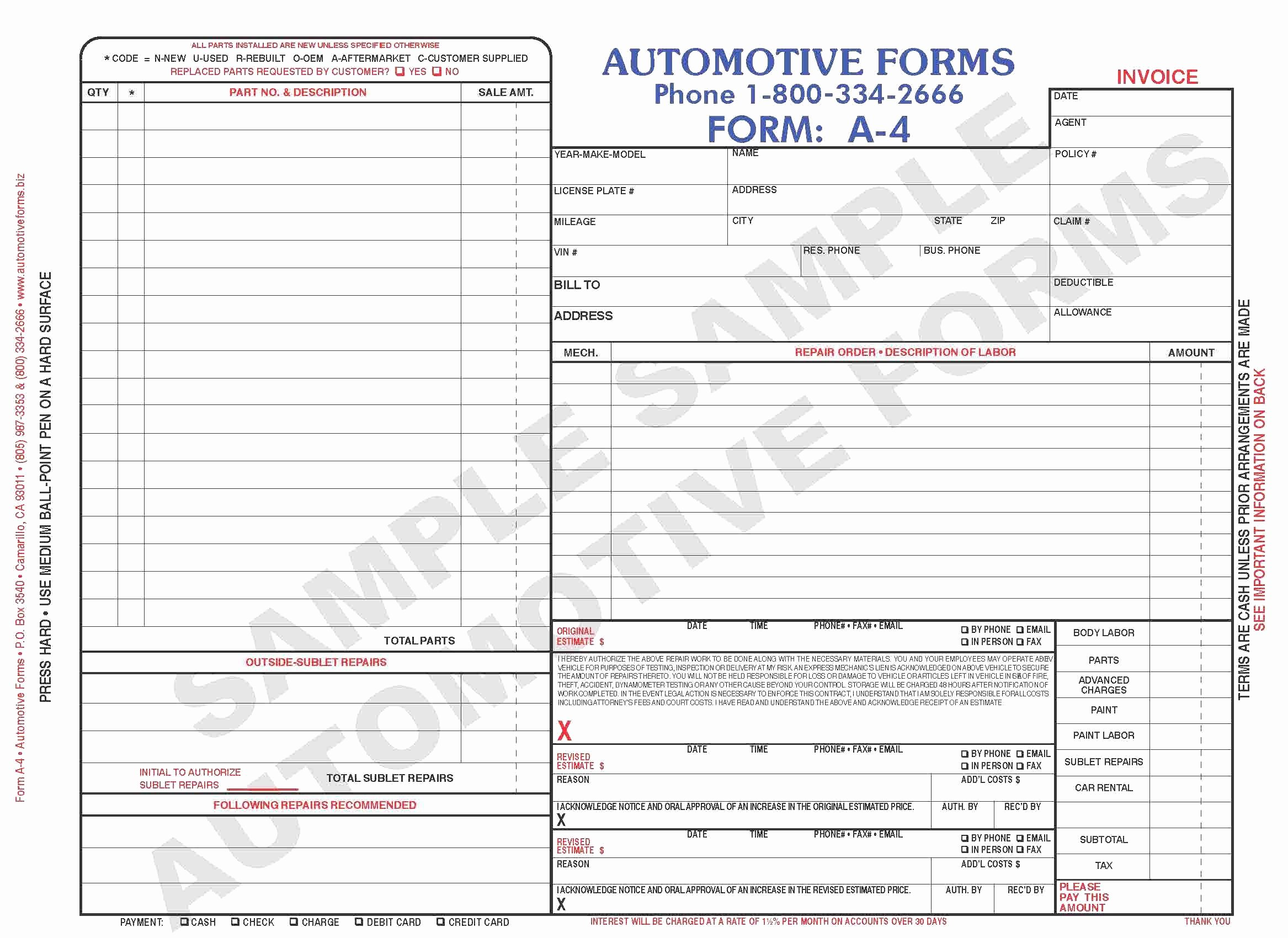 Free Body Shop Estimate Template Sample Worksheets