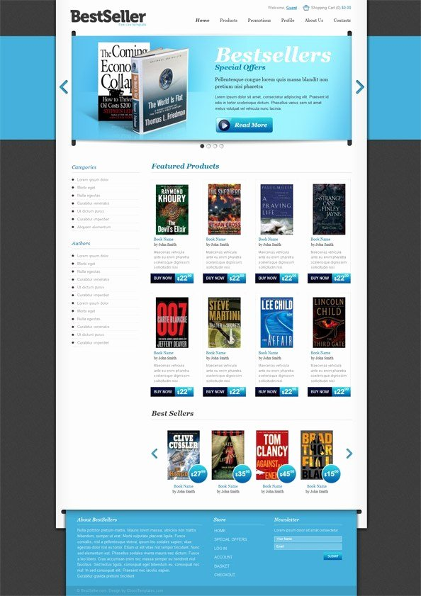 Free Book Store E Merce Template Website Css Templates