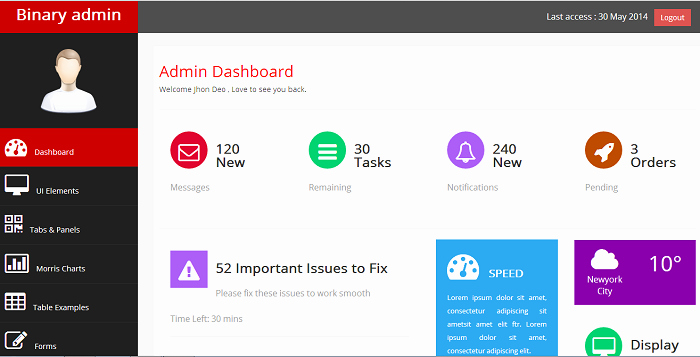 Free Bootstrap Admin Template Free themes Free Templates