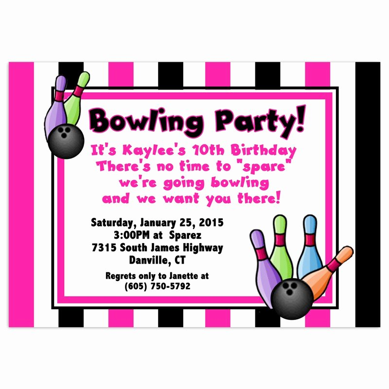 Free Bowling Birthday Party Invitations Template