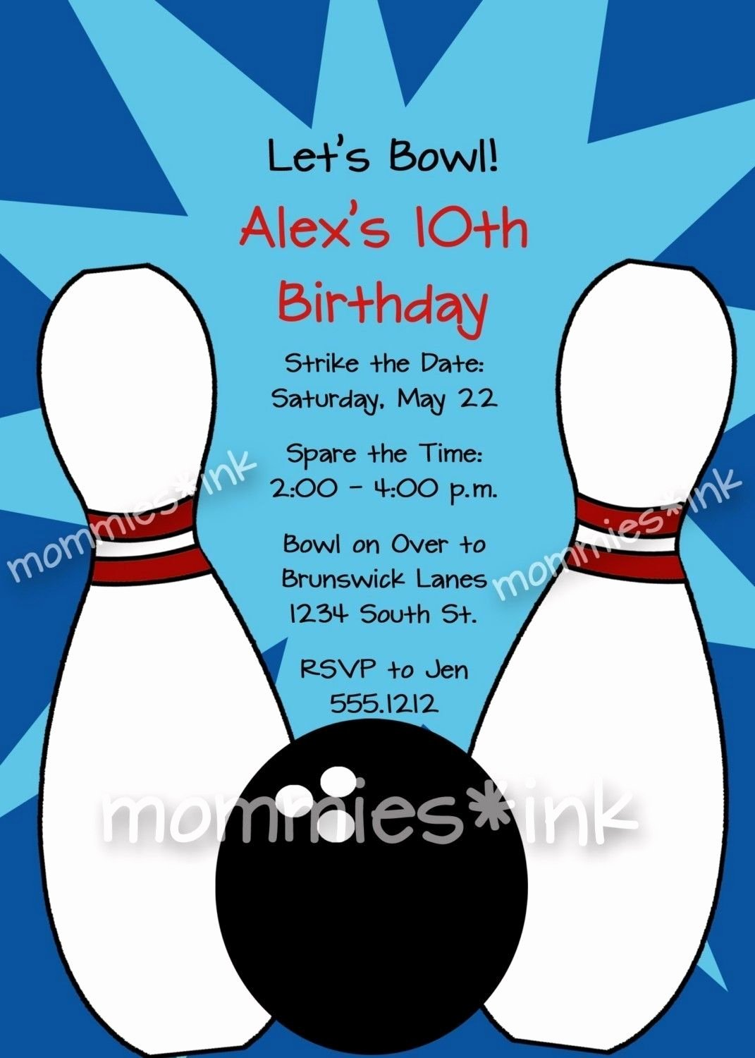 Free Bowling Party Invitations Templates with Blue