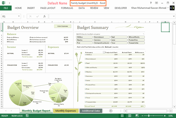 Free Bud Excel Template Download Household Monthly
