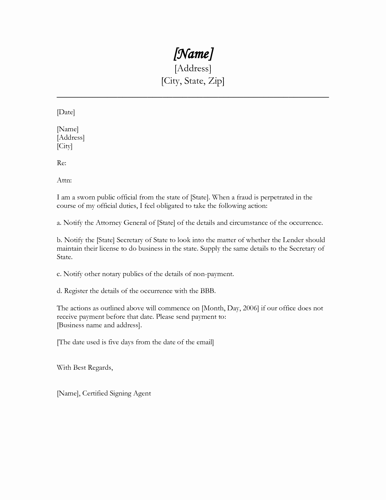 Free Business form Letter Template Good Example Best
