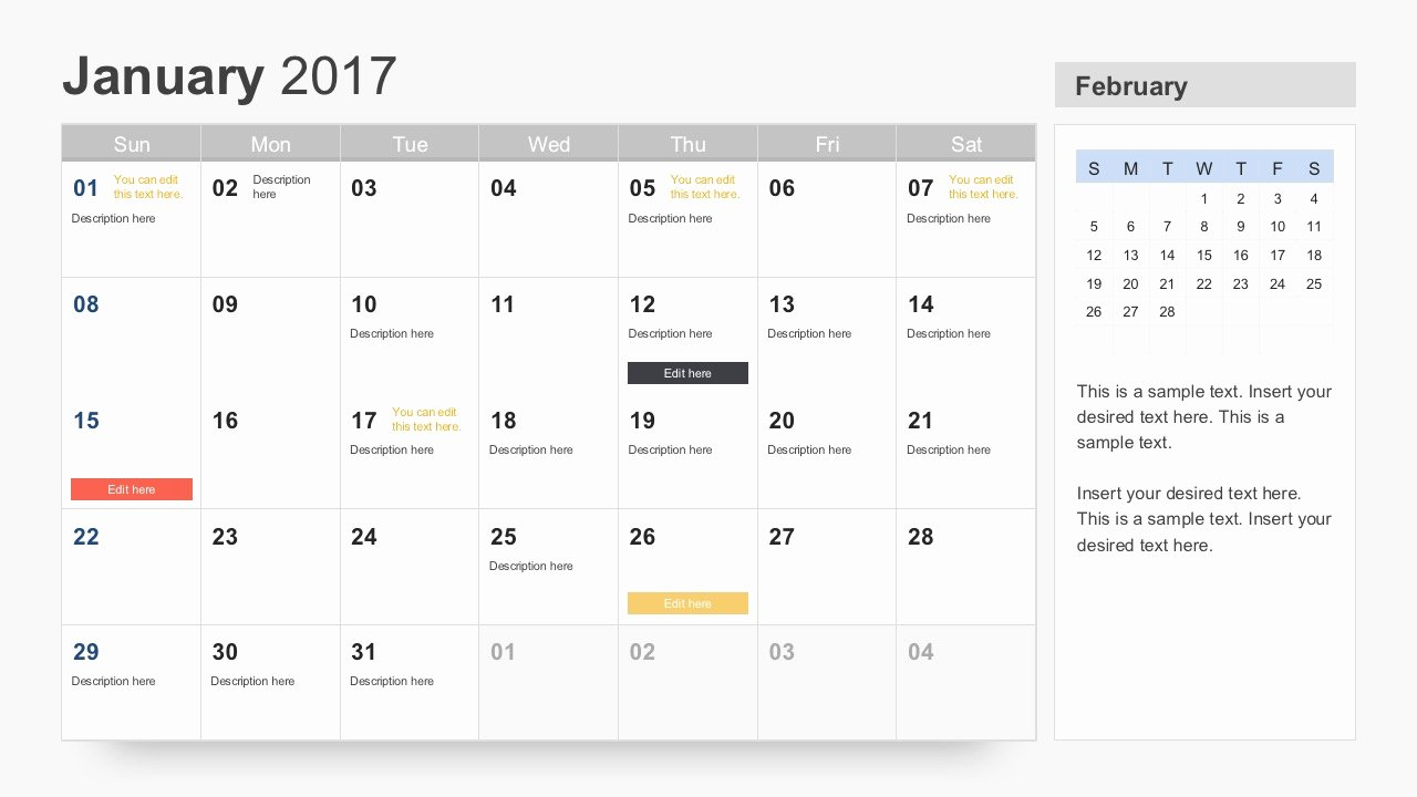 Free Calendar 2017 Template for Powerpoint