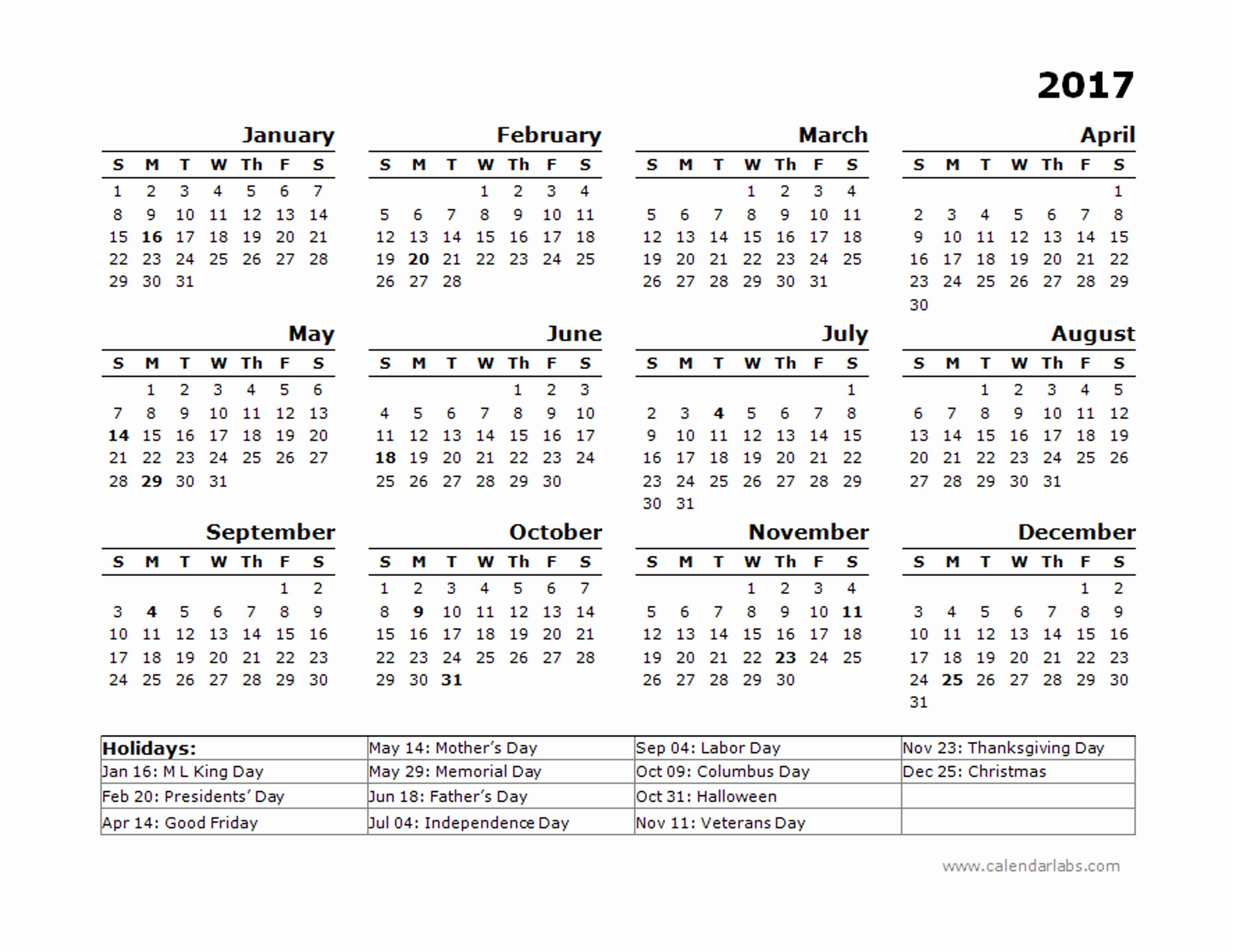 free calendar template 2017