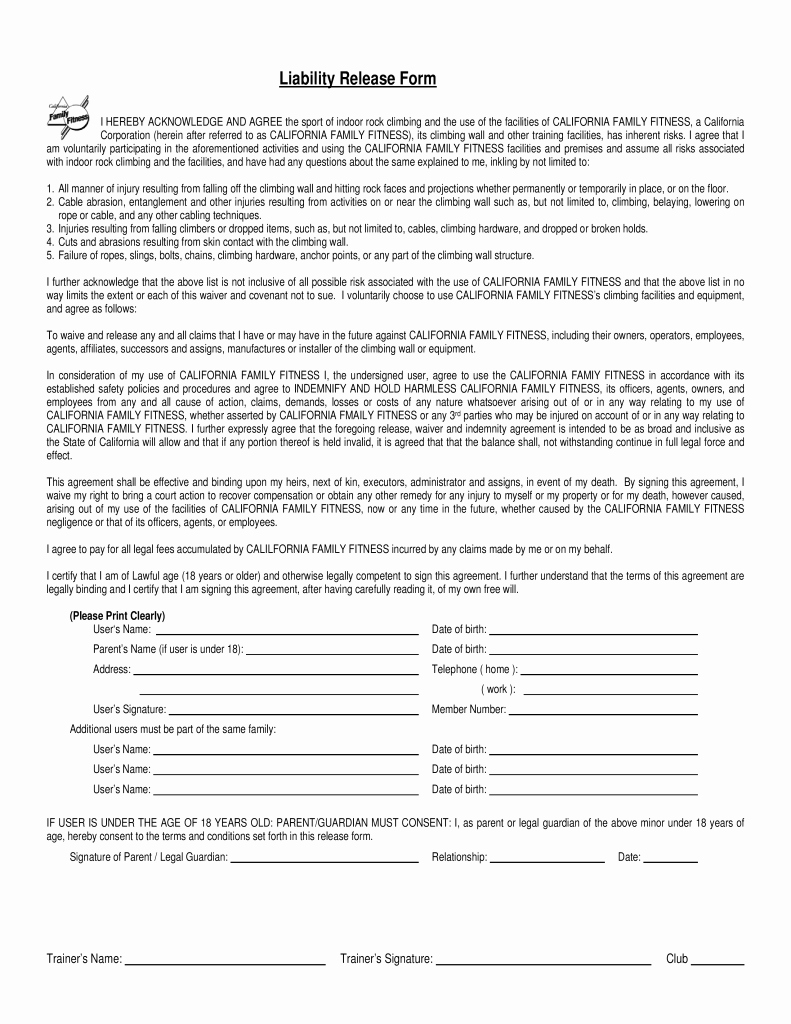 Free California Family Fitness Liability Release form