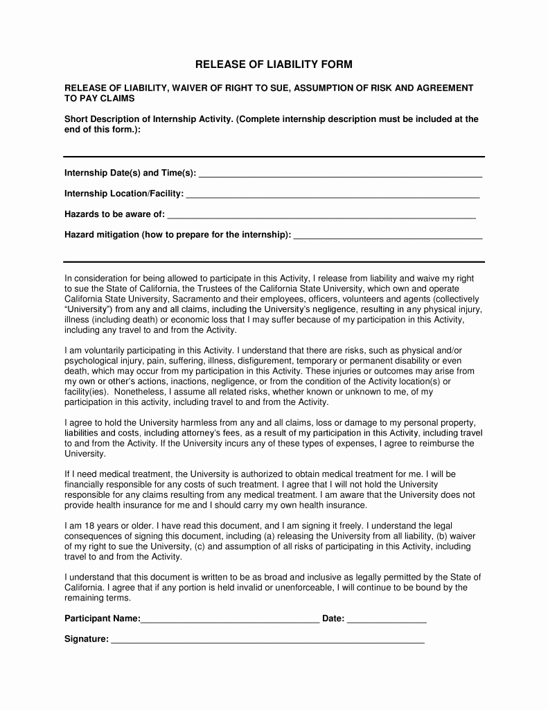 Free California Liability Release form