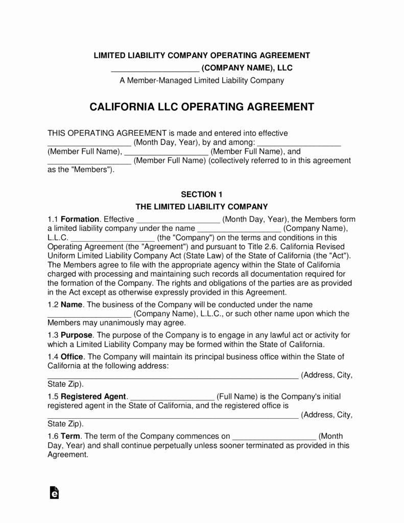 california multi member llc operating agreement form