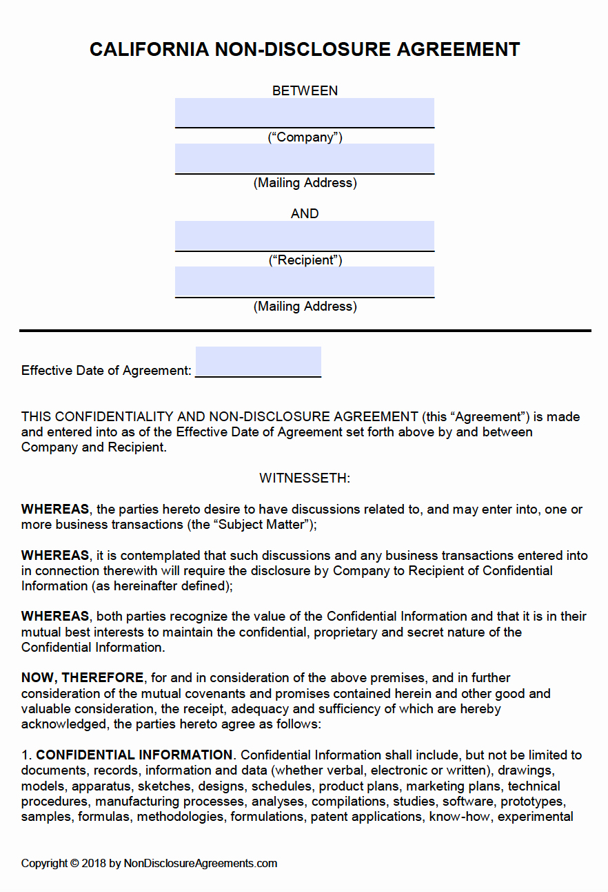 Free California Non Disclosure Agreement Nda Template