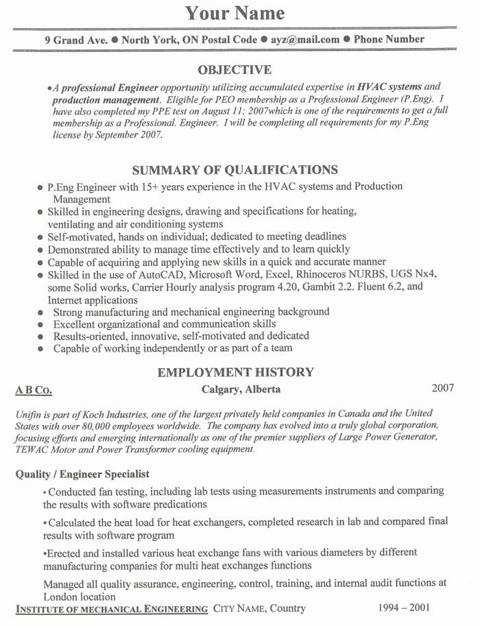 Free Canadian Resume Templates Best Resume Gallery