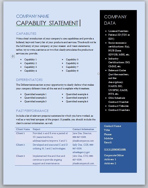 Free Capability Statement Template – Blue and Black