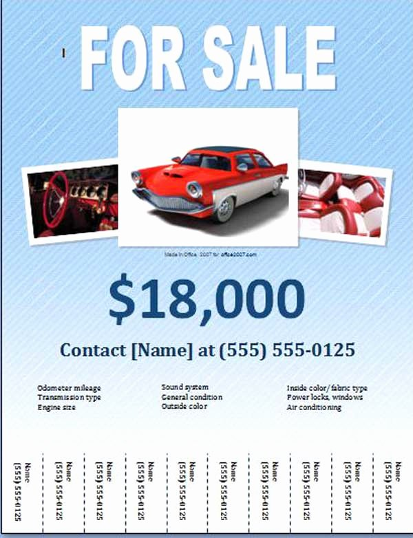 Free Car for Sale Flyer Templates Free Line Flyers