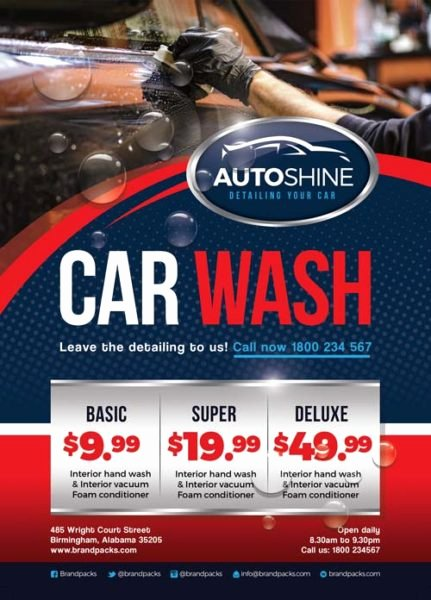 Free Car Wash Business Flyer Template Download for Shop