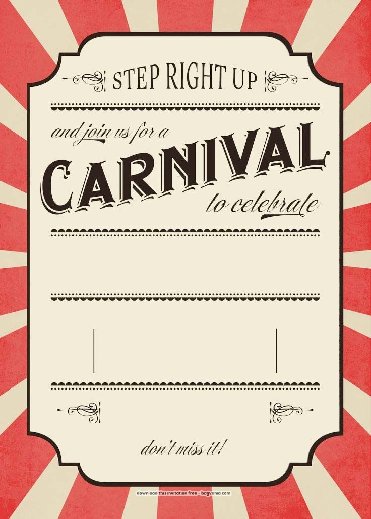 Free Carnival Birthday Invitations – Free Printable