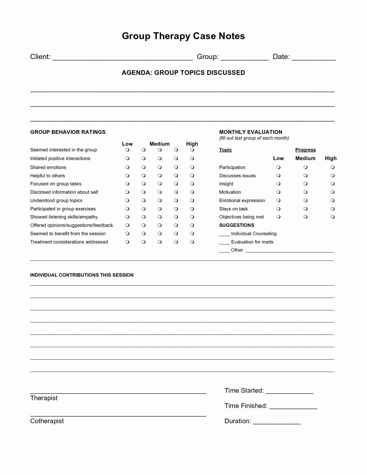 Free Case Note Templates Group therapy Case Notes