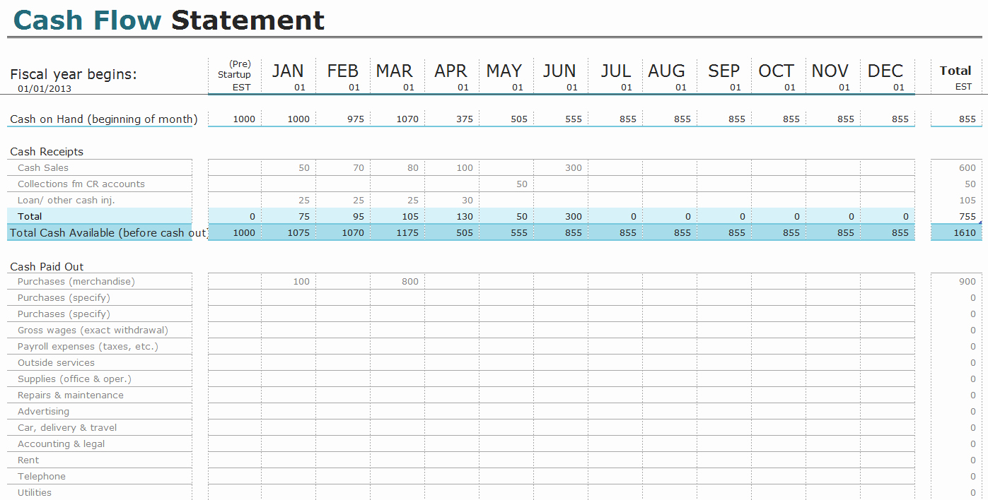 Free Cash Flow Statement Templates for Excel
