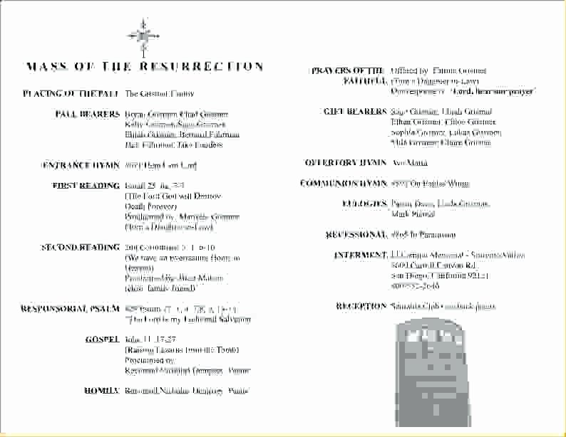 Free Catholic Funeral Mass Program Template – Meicys