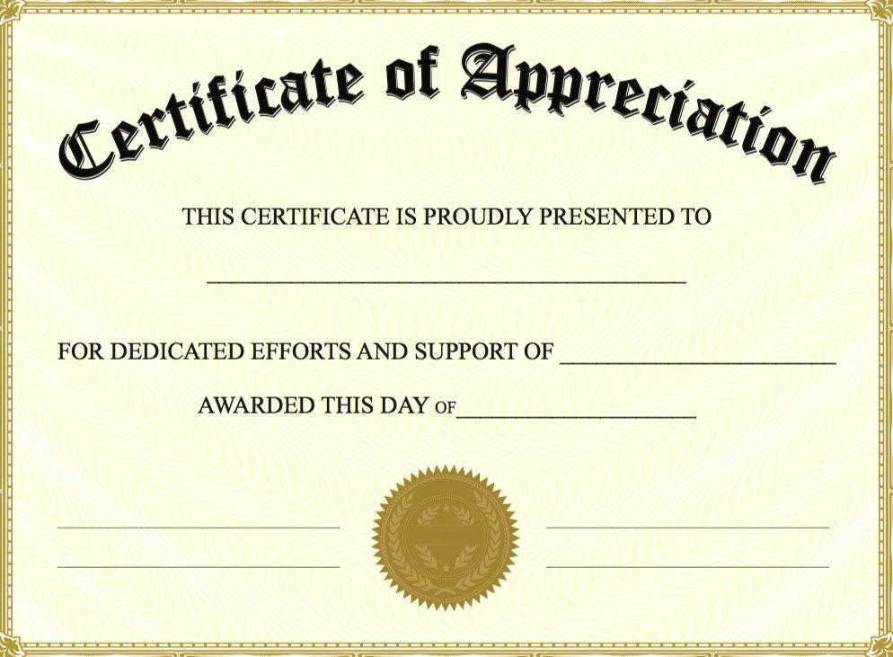 Free Certificate Appreciation Templates Invitation