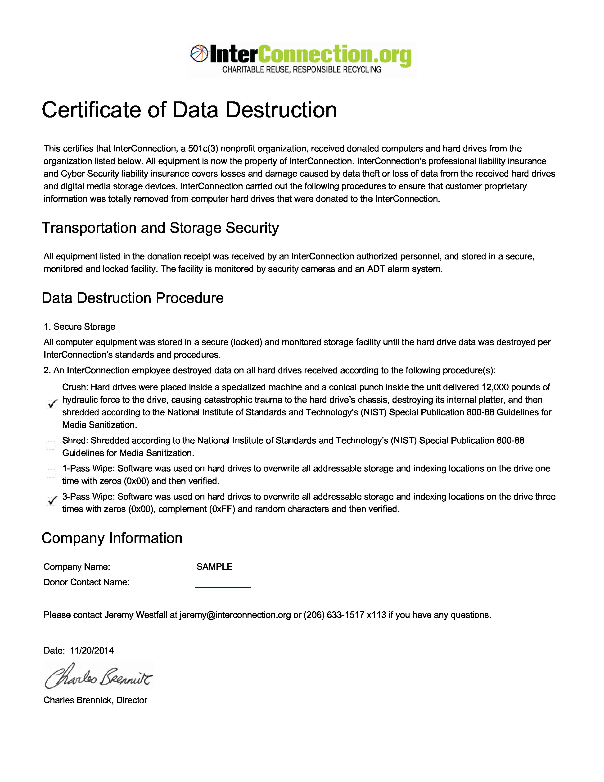 Free Certificate Data Destruction