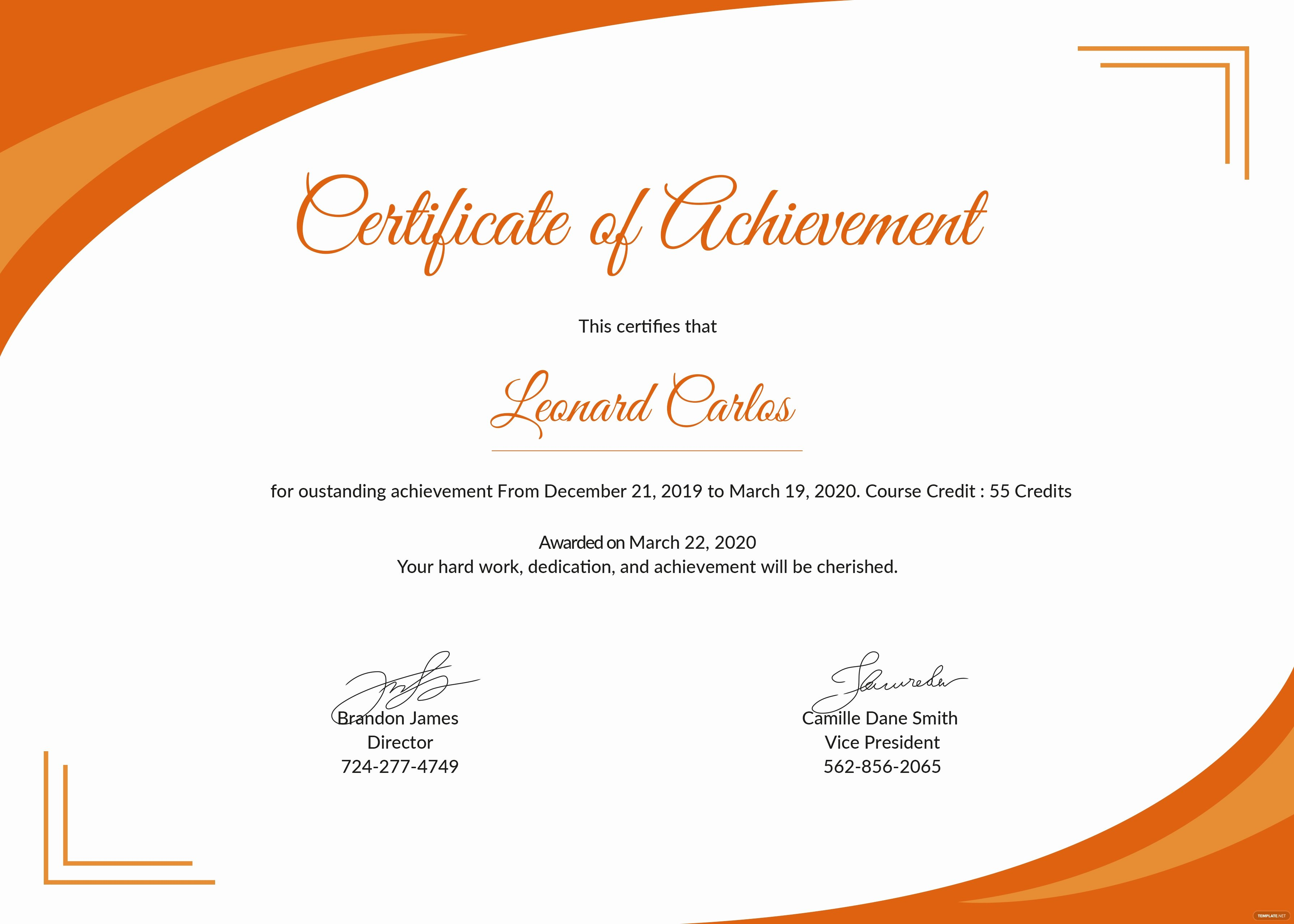 Free Certificate Of Achievement Template In Psd Ms Word