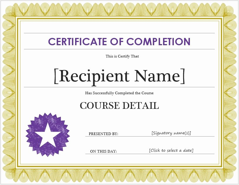 Free Certificate Of Pletion Template – Microsoft Word