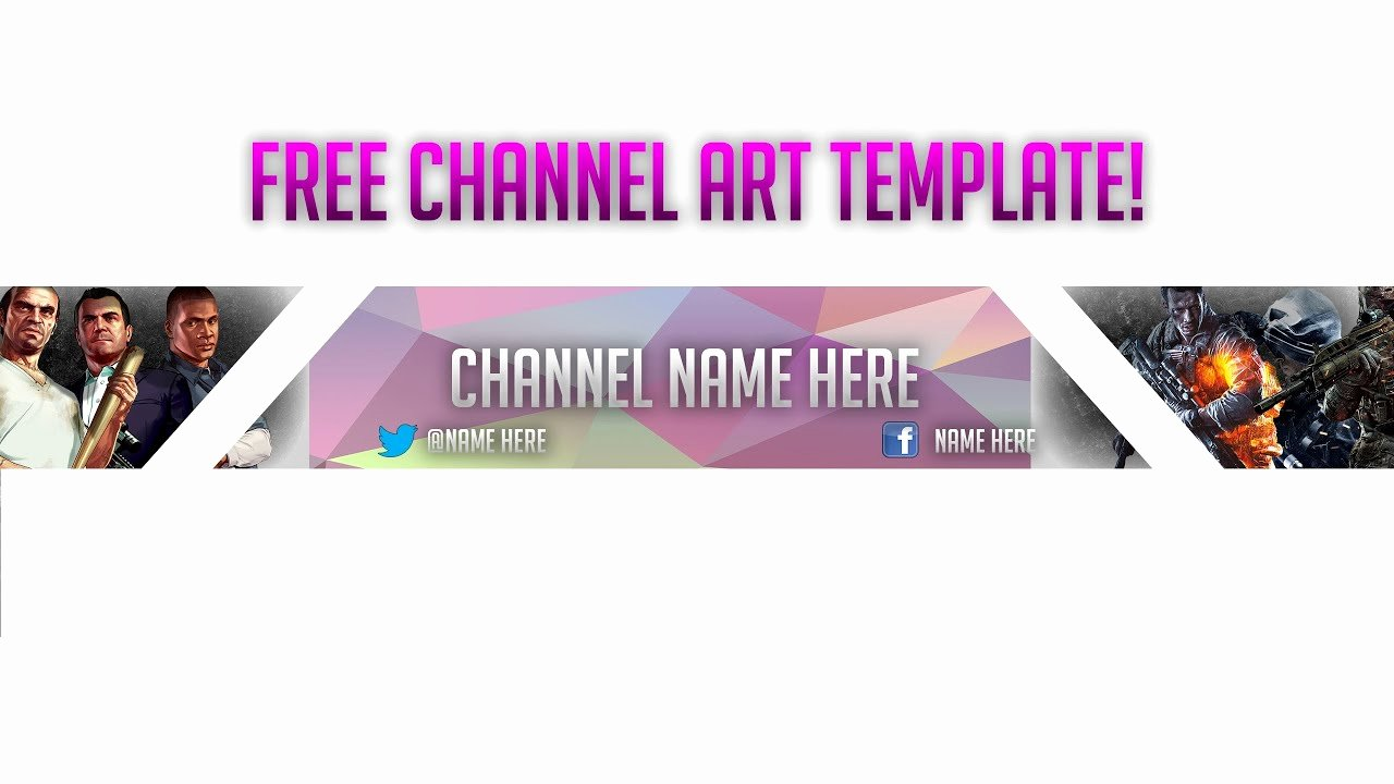Free Channel Art Banner Template Gaming Channel Art