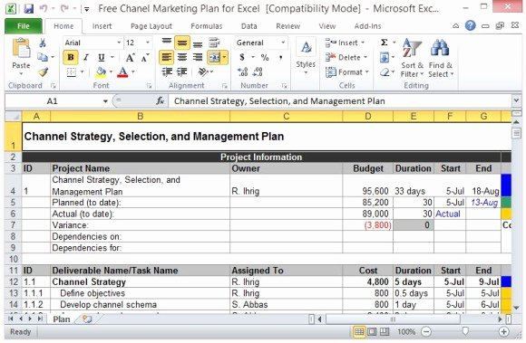 free channel marketing plan template for excel